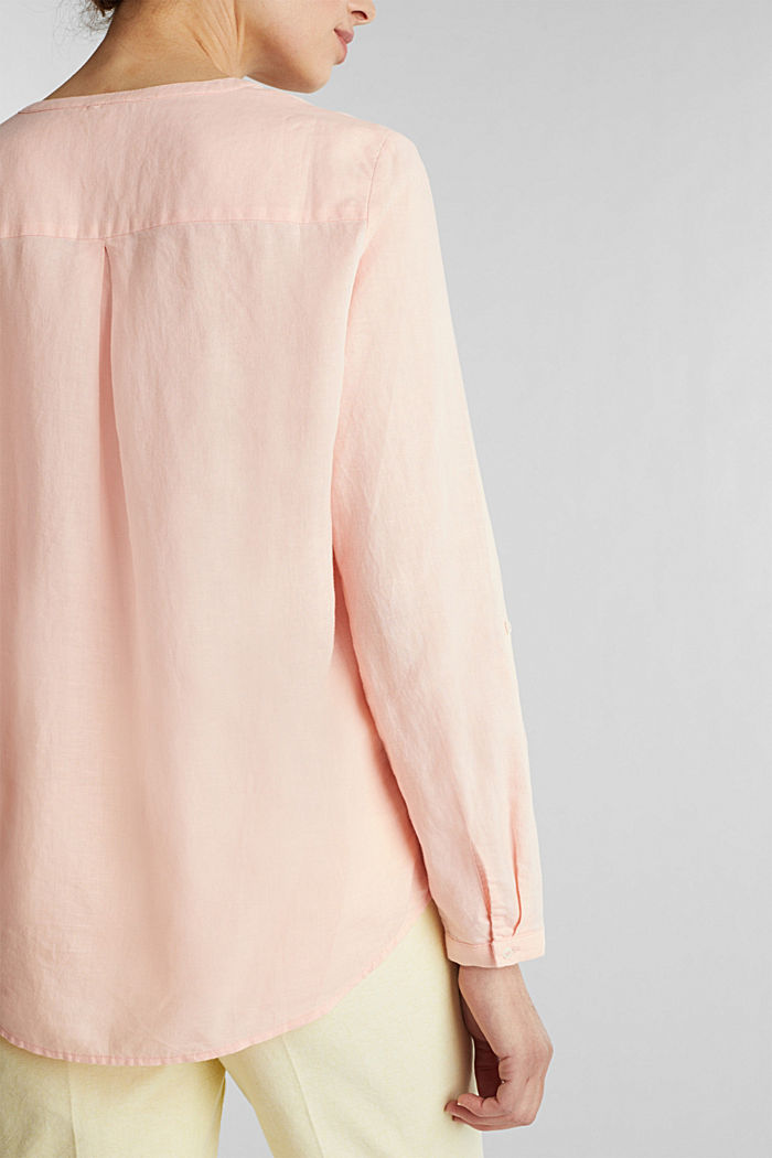 Turn-up blouse in blended linen, PEACH, detail image number 2