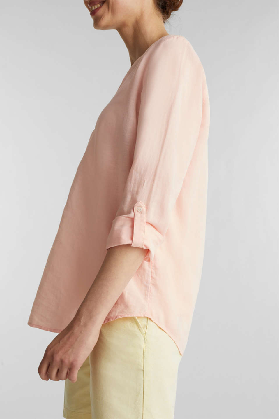Turn-up blouse in blended linen, PEACH, detail image number 5