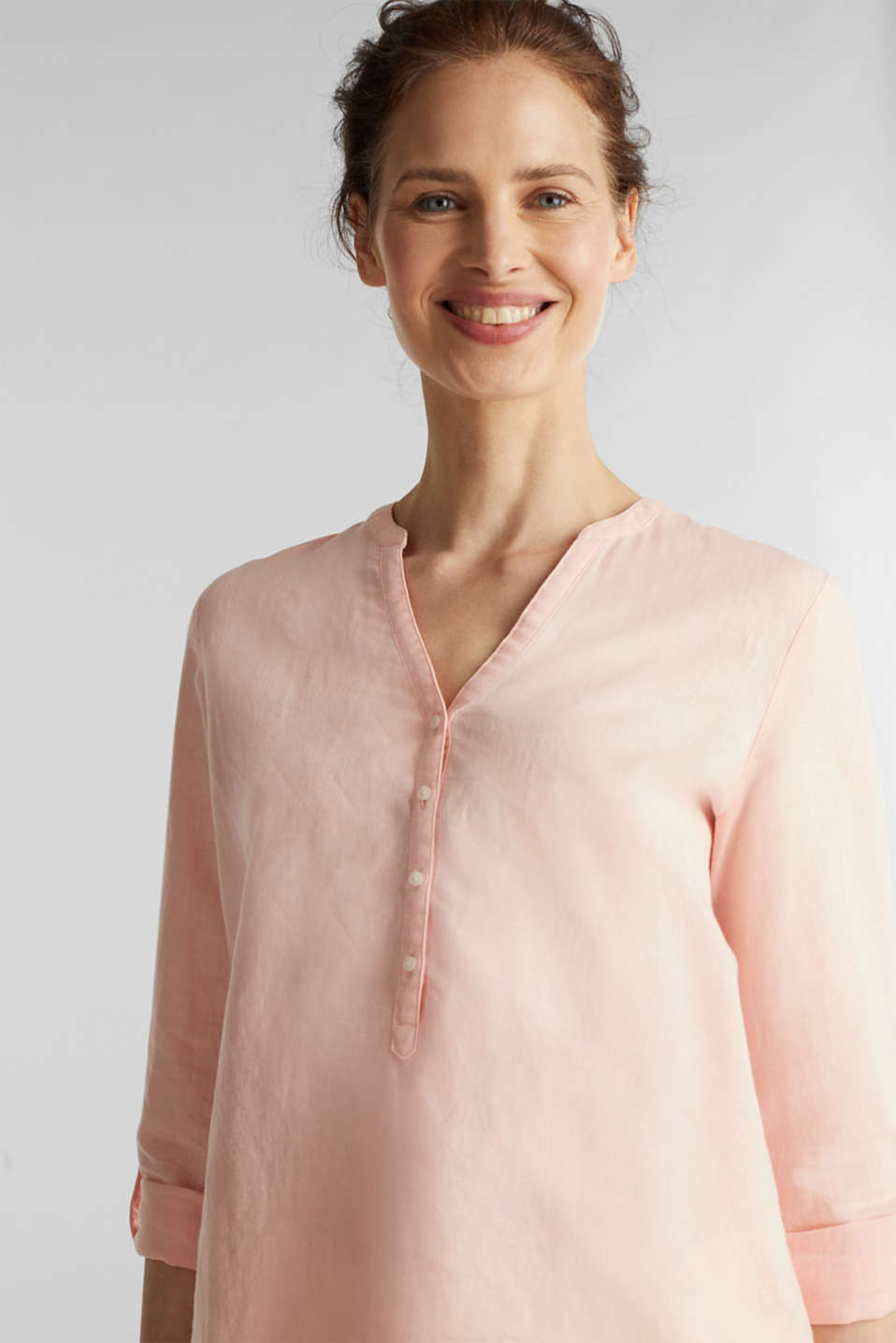 Turn-up blouse in blended linen, PEACH, detail image number 6