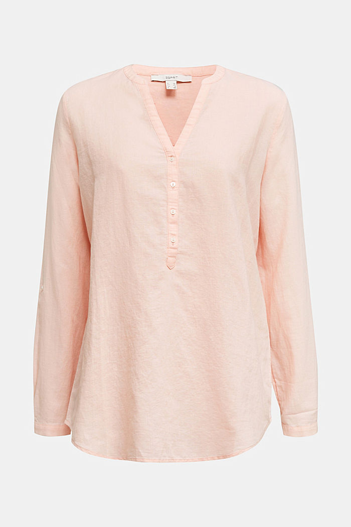 Turn-up blouse in blended linen, PEACH, detail image number 7