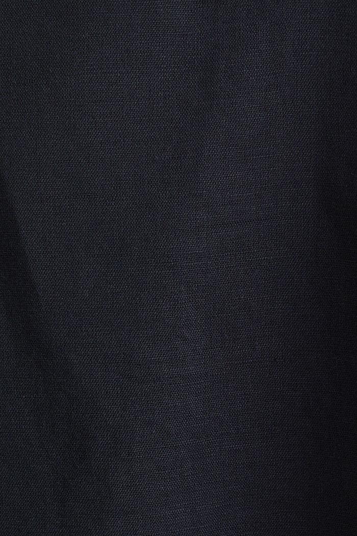 CURVY Aus Leinen-Mix: Henley-Bluse, BLACK, detail image number 4