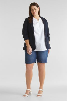 CURVY Made of blended linen: Henley blouse, WHITE, detail