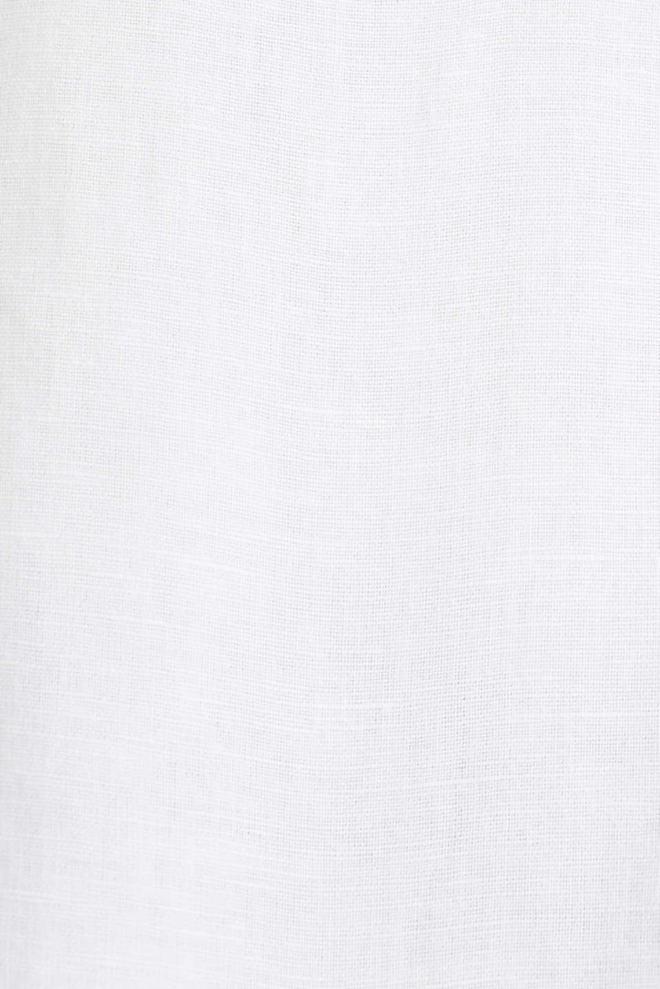 CURVY Made of blended linen: Henley blouse, WHITE, detail image number 4