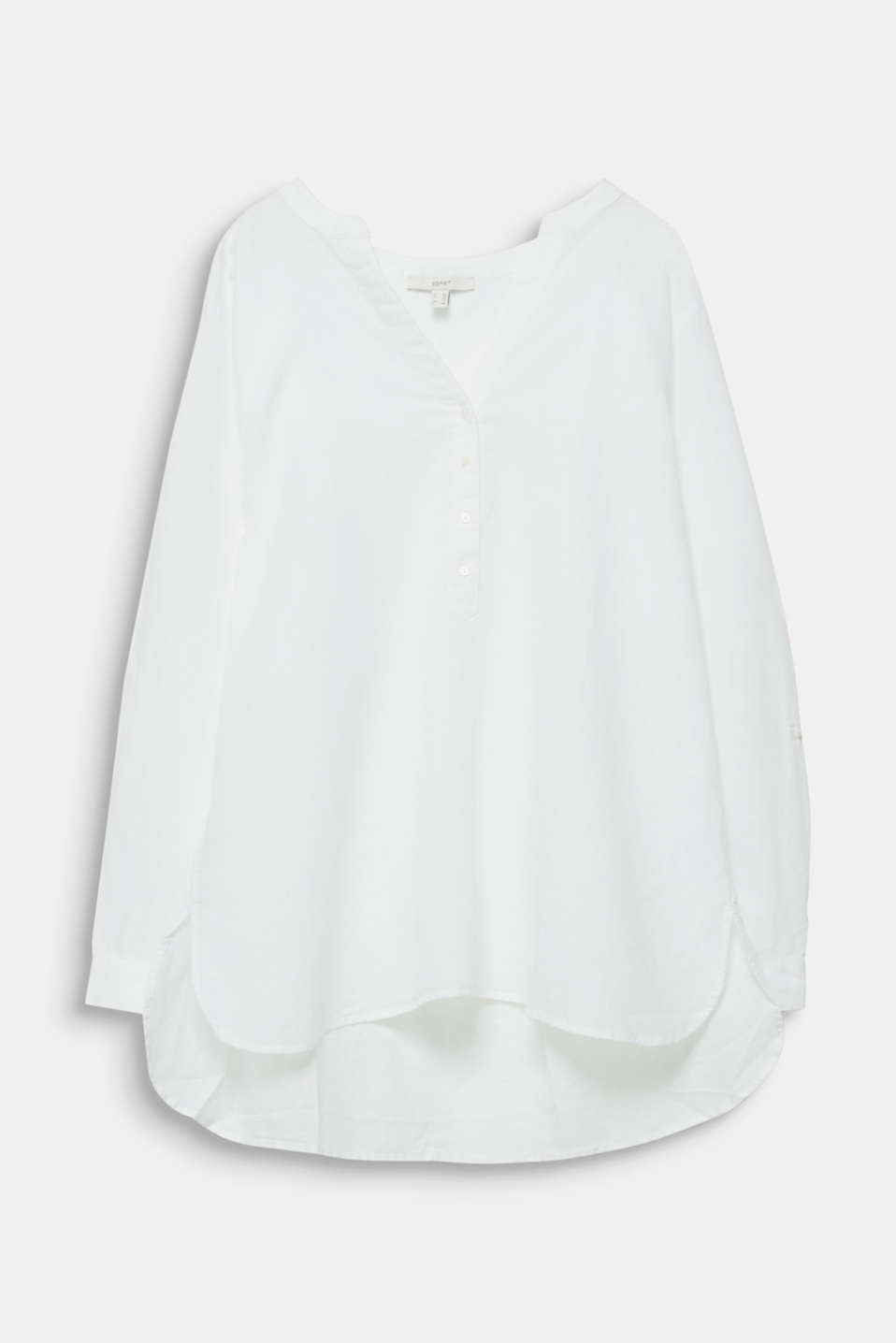 CURVY Made of blended linen: Henley blouse, WHITE, detail image number 6