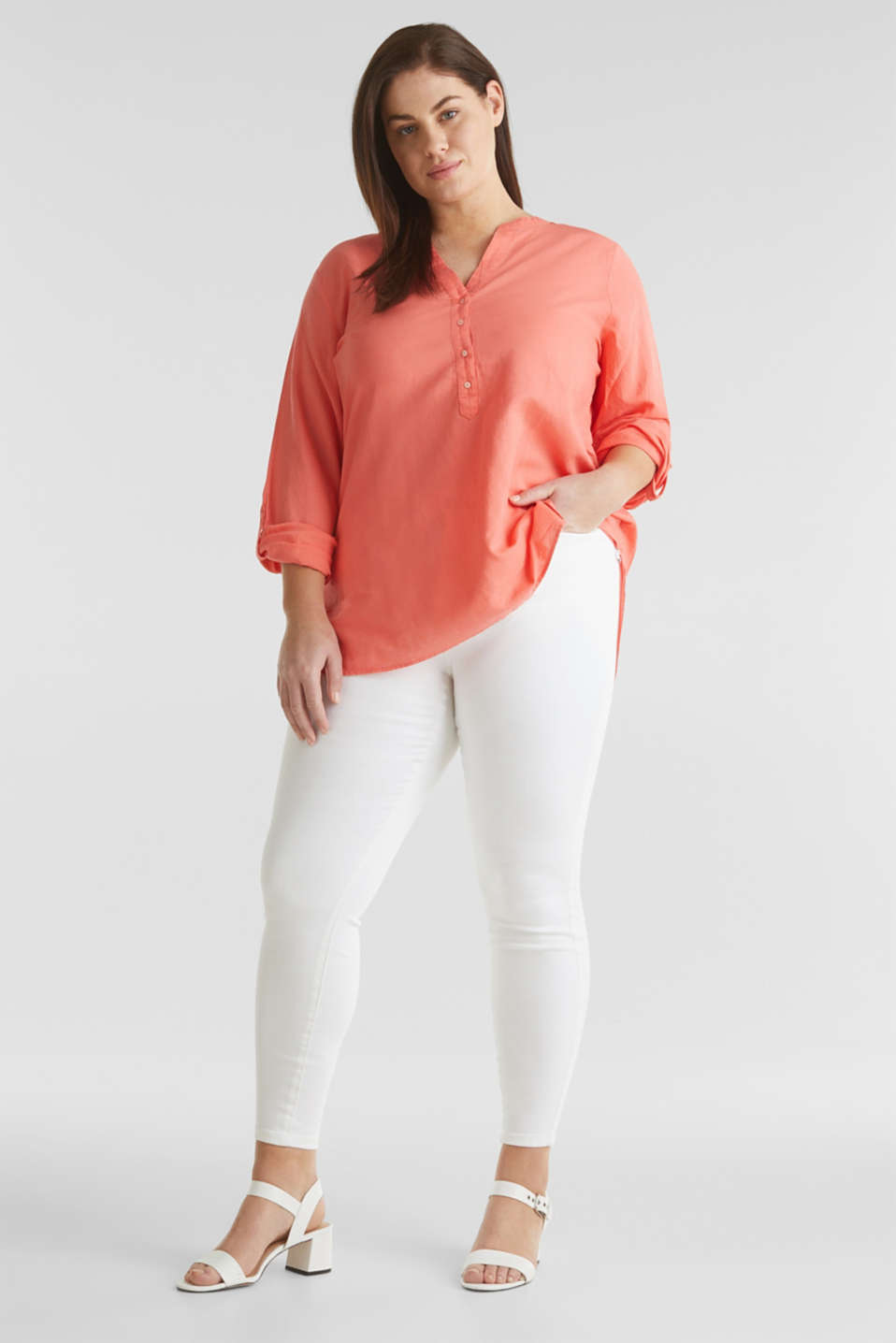 CURVY Made of blended linen: Henley blouse, CORAL, detail image number 0