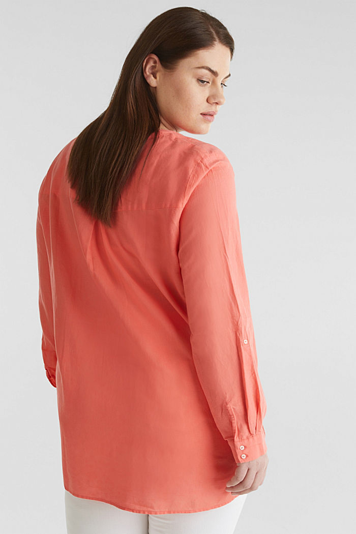 CURVY Made of blended linen: Henley blouse, CORAL, detail image number 2