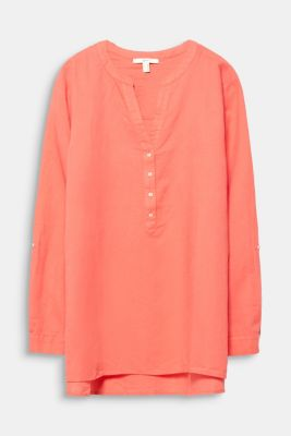 CURVY Made of blended linen: Henley blouse, CORAL, detail