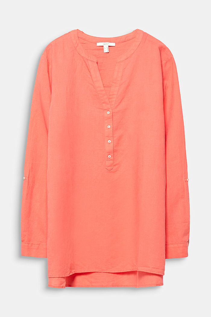CURVY Made of blended linen: Henley blouse, CORAL, detail image number 4