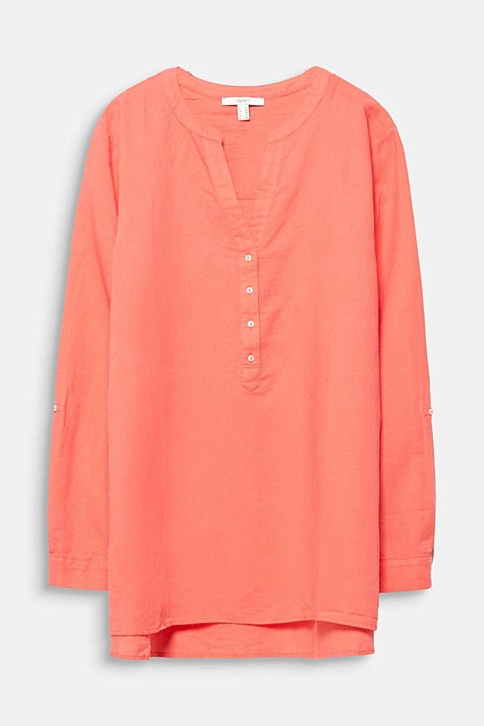 CURVY Made of blended linen: Henley blouse