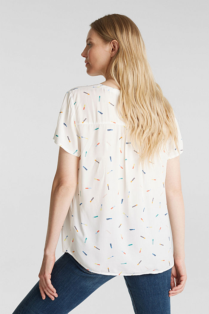 Print blouse with LENZING™ ECOVERO™, WHITE, detail image number 3
