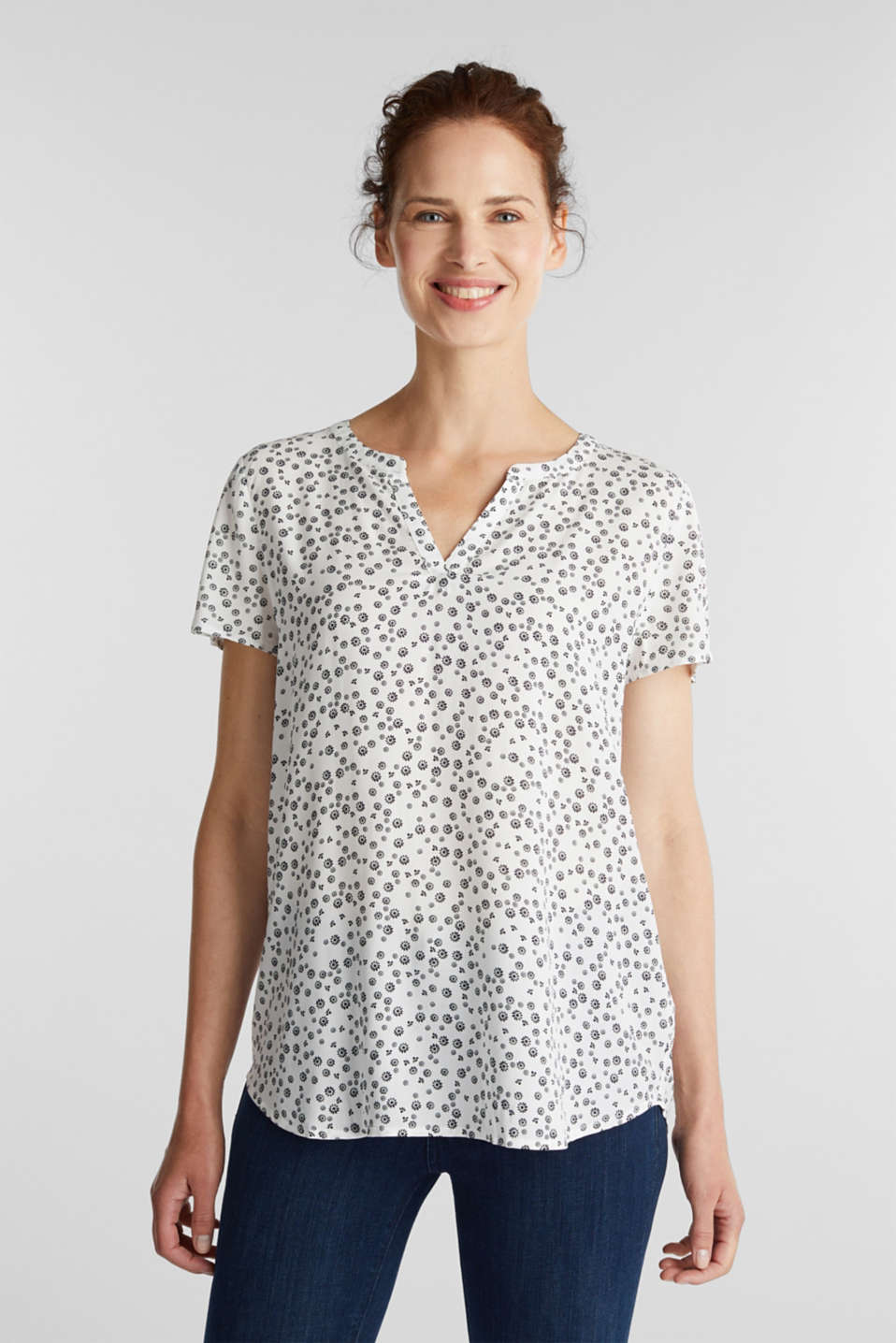 Esprit - Blusa con stampa in LENZING™ ECOVERO™