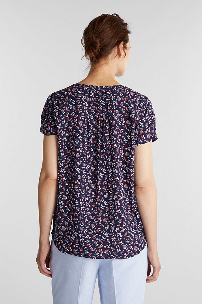 Print blouse with LENZING™ ECOVERO™, NEW NAVY, detail image number 3