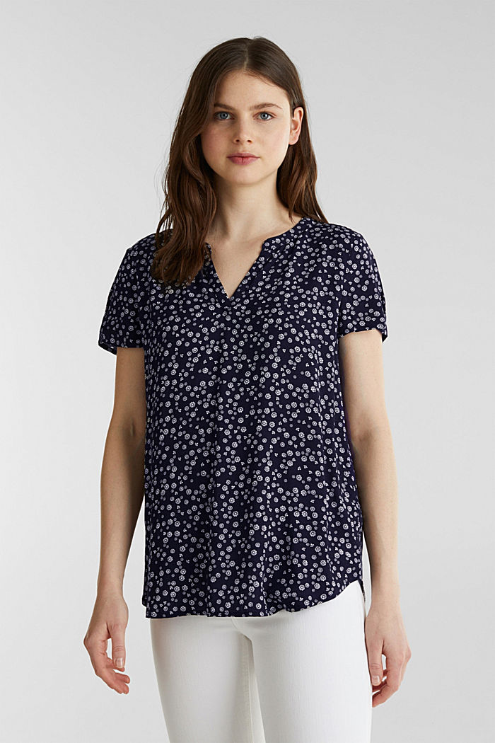 Print blouse with LENZING™ ECOVERO™, NAVY BLUE, detail image number 0
