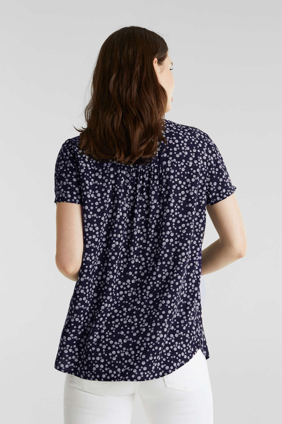 Print blouse with LENZING™ ECOVERO™, NAVY 4, detail image number 3