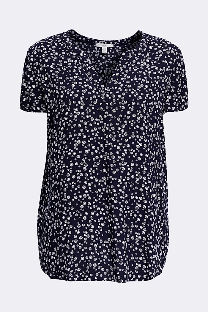 Print blouse with LENZING™ ECOVERO™, NAVY BLUE, overview