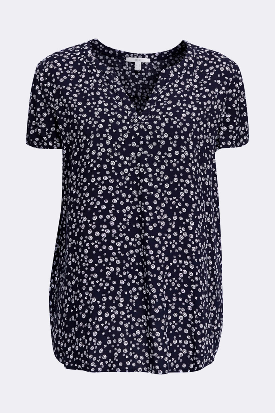 Print blouse with LENZING™ ECOVERO™, NAVY 4, detail image number 5