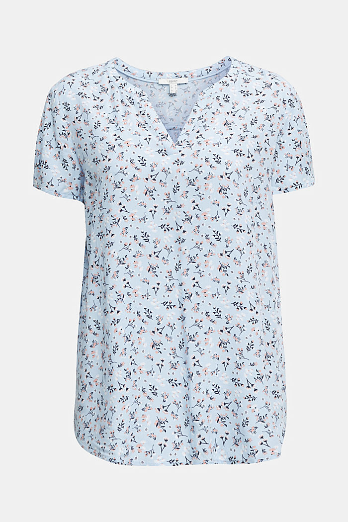 Print blouse with LENZING™ ECOVERO™, LIGHT BLUE, detail image number 5