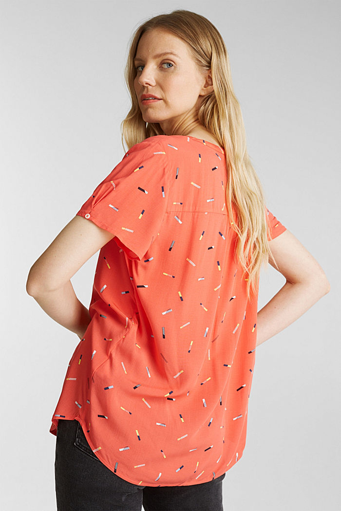 Print blouse with LENZING™ ECOVERO™, NEW CORAL, detail image number 3