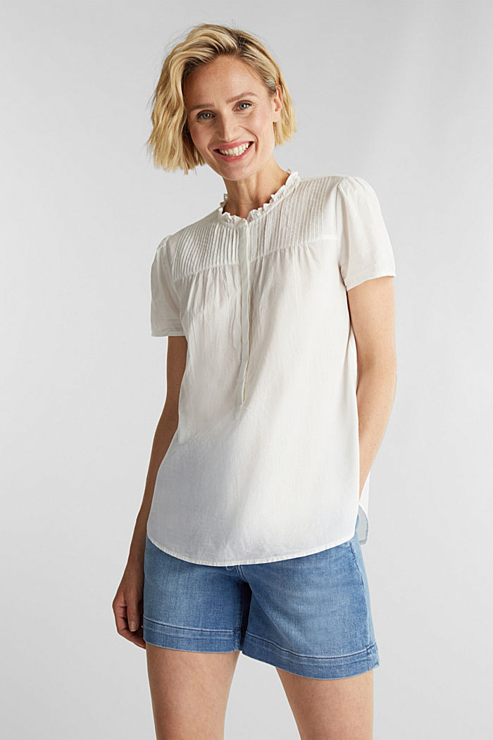 Blouse with pintucks, 100% cotton, OFF WHITE, detail image number 0