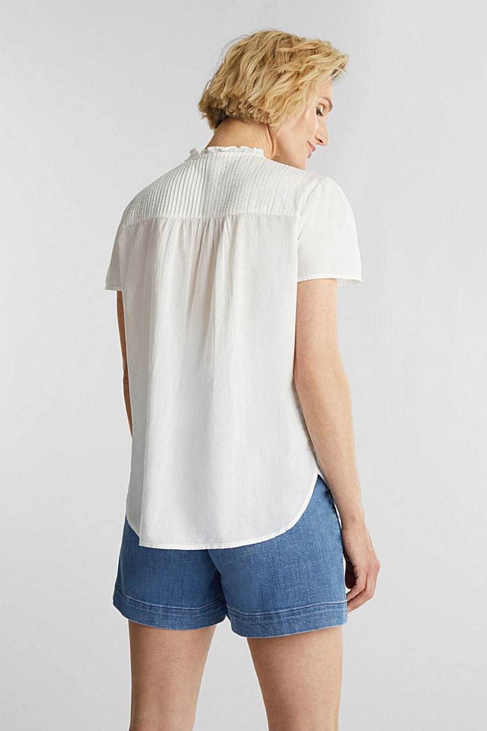 Blouse with pintucks, 100% cotton, OFF WHITE, detail image number 3