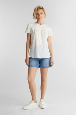 Blouse with pintucks, 100% cotton, OFF WHITE, detail