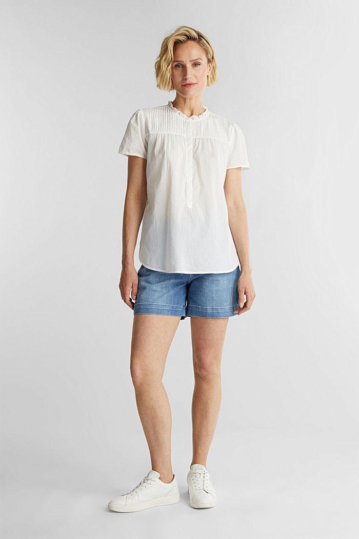 Bluse mit Biesen, 100% Baumwolle, OFF WHITE, detail image number 1