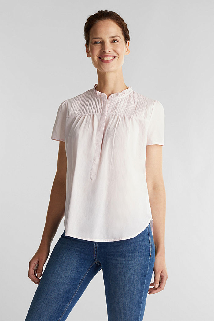 Blouse with pintucks, 100% cotton