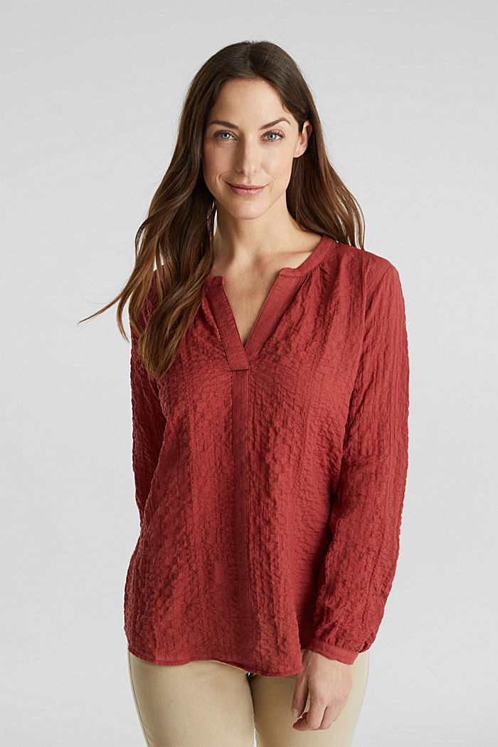 Semi-transparente Seersucker-Bluse, DARK RED, detail image number 0