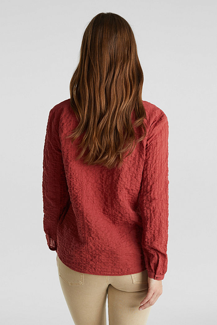 Semi-transparente Seersucker-Bluse, DARK RED, detail image number 3