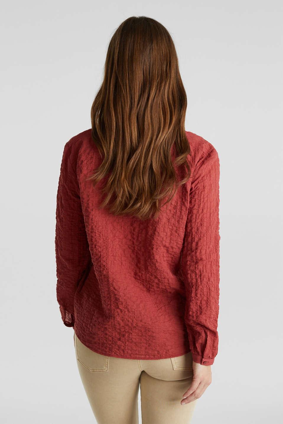 Semi-sheer seersucker blouse, DARK RED, detail image number 3