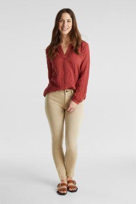 Semi-sheer seersucker blouse, DARK RED, detail