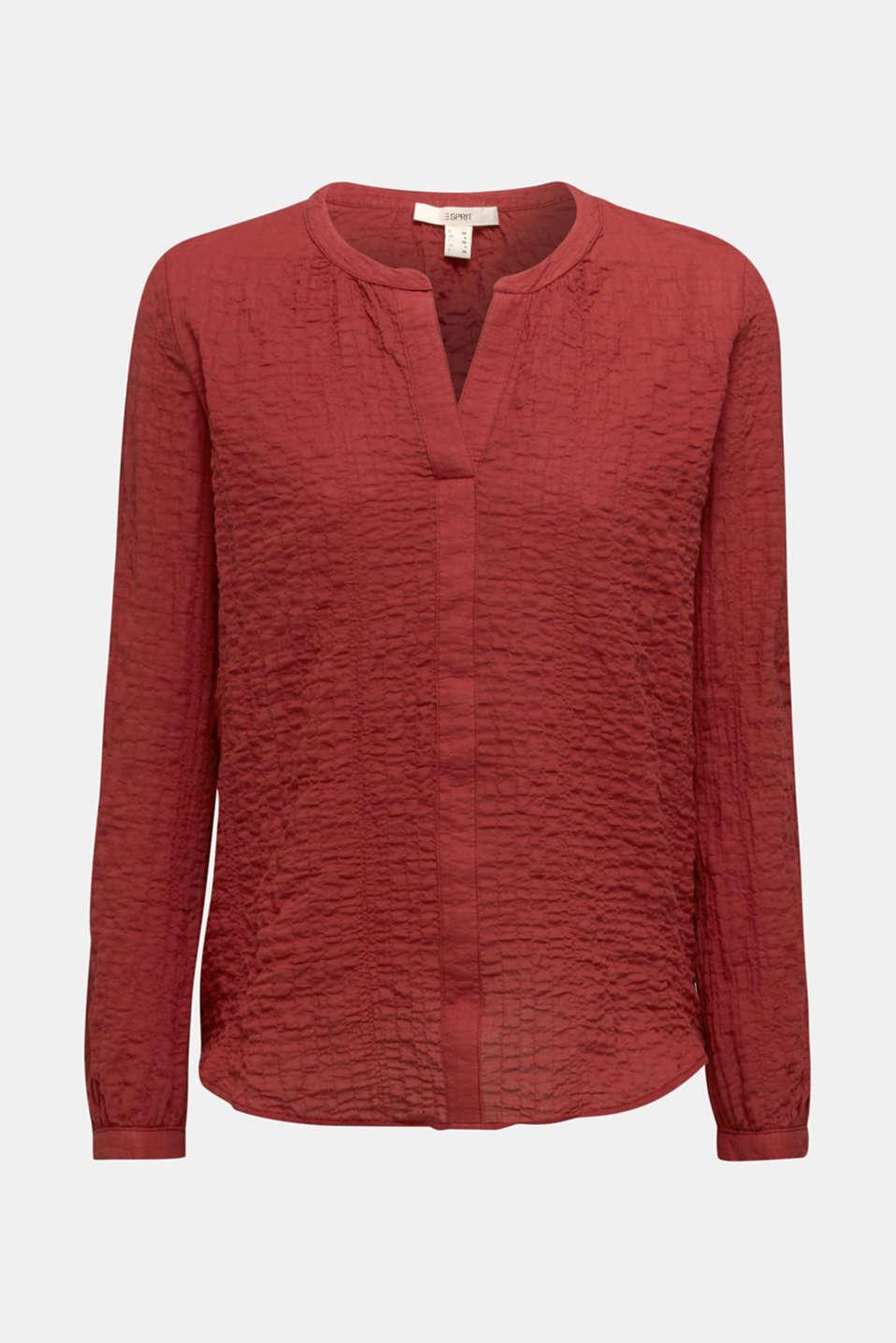 Semi-sheer seersucker blouse, DARK RED, detail image number 6