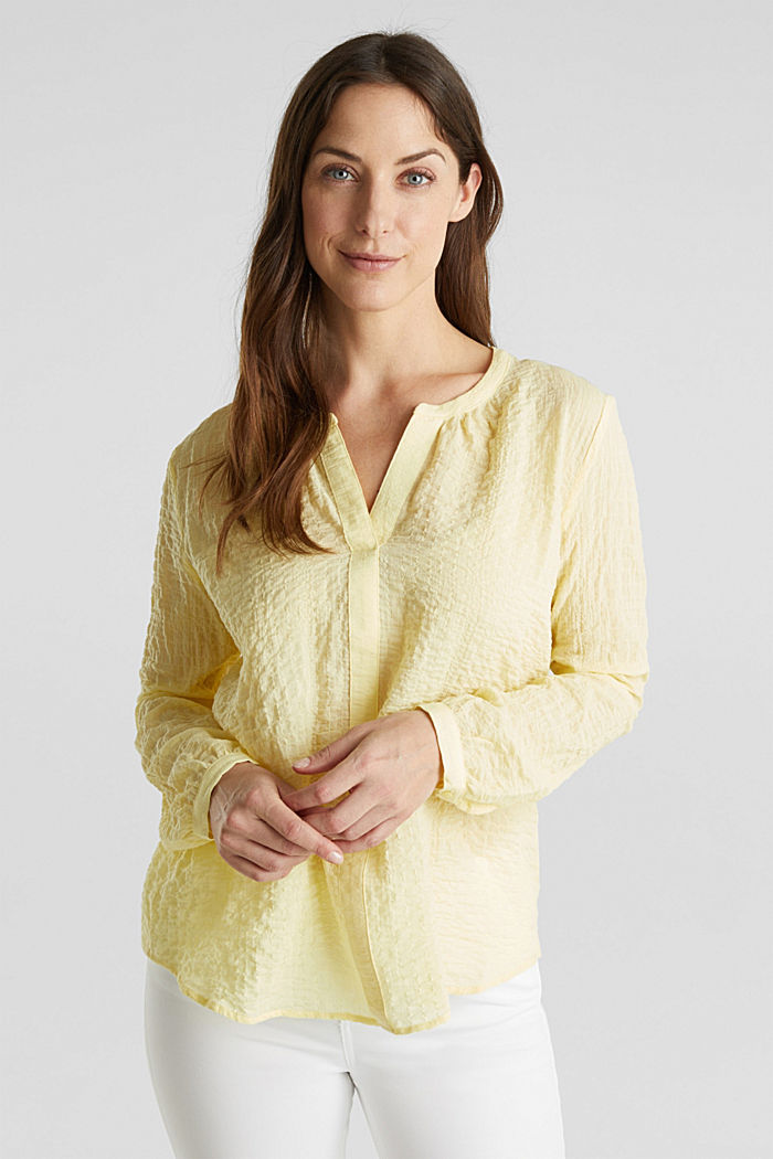 Semi-sheer seersucker blouse, LIME YELLOW, detail image number 0