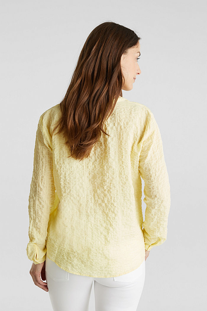 Semi-sheer seersucker blouse, LIME YELLOW, detail image number 3
