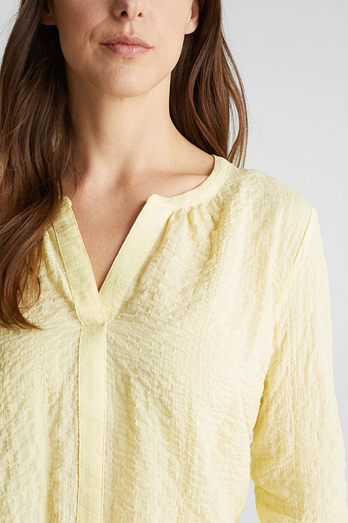 Semi-sheer seersucker blouse, LIME YELLOW, detail image number 2