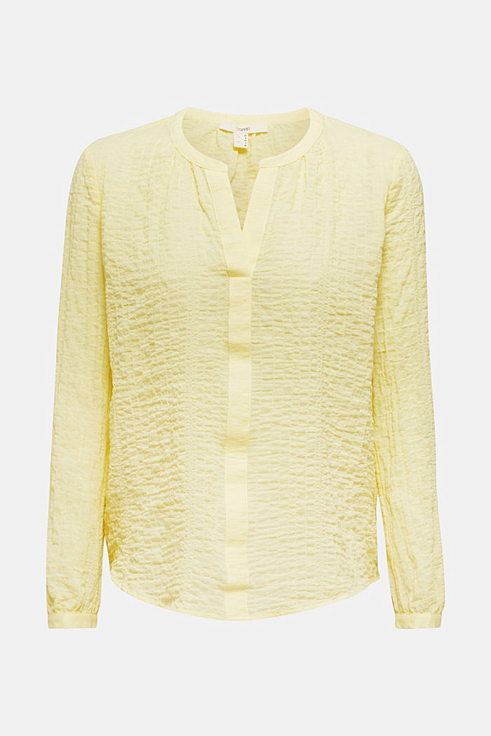 Semi-sheer seersucker blouse, LIME YELLOW, detail image number 6