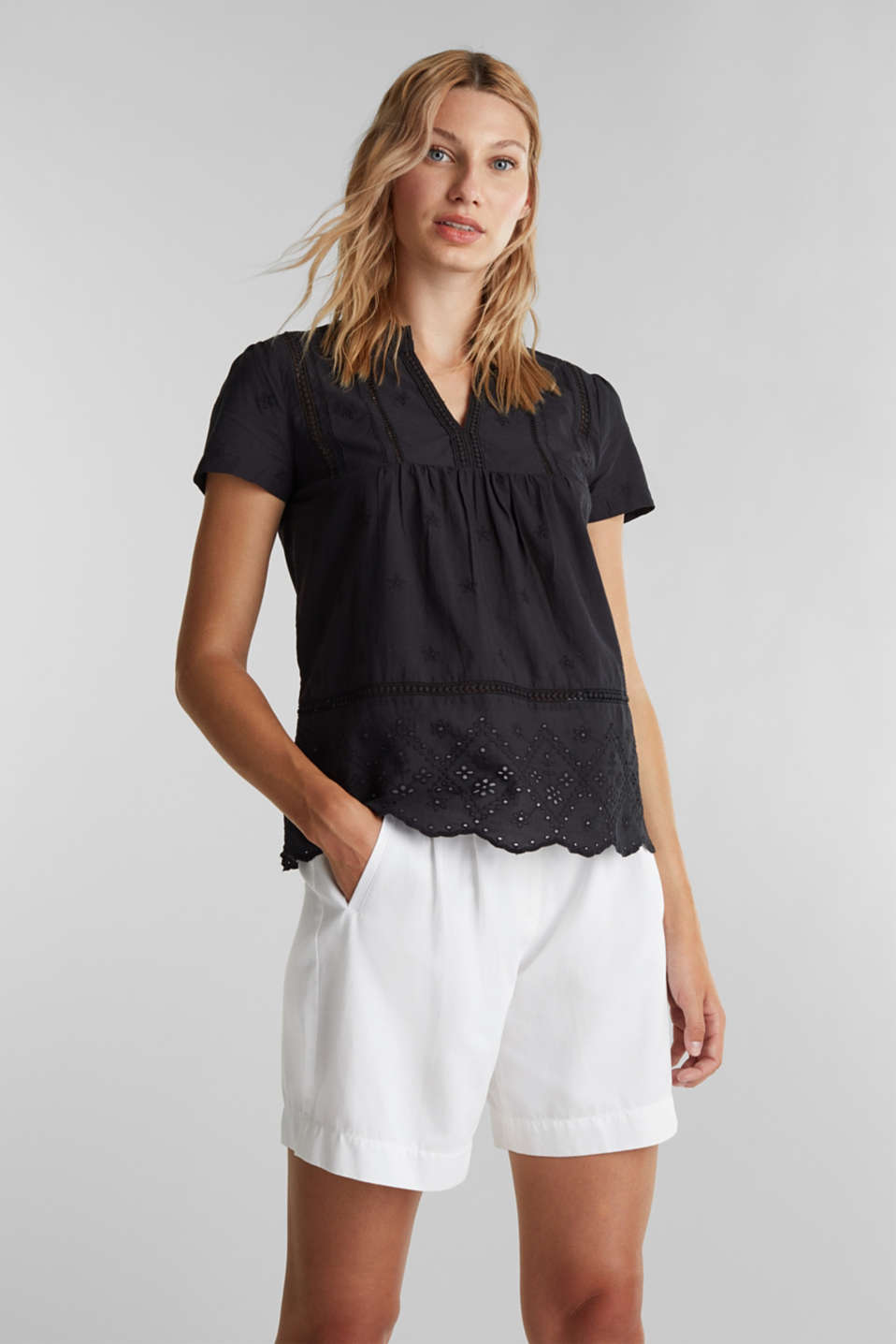 Esprit - Bluse med broderie anglaise, 100% bomuld