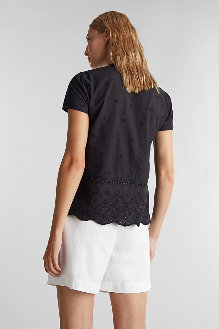 Broderie anglaise blouse, 100% cotton, BLACK, detail image number 3