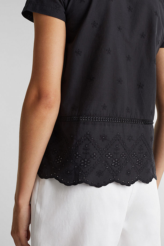 Broderie anglaise blouse, 100% cotton, BLACK, detail image number 2