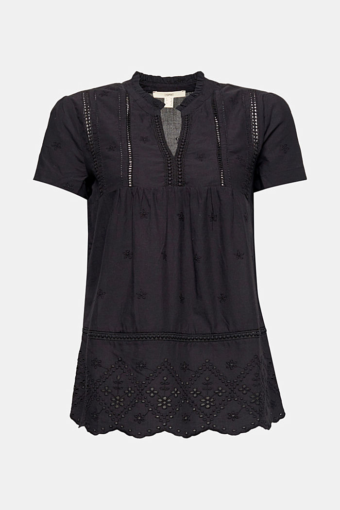 Broderie anglaise blouse, 100% cotton, BLACK, detail image number 6