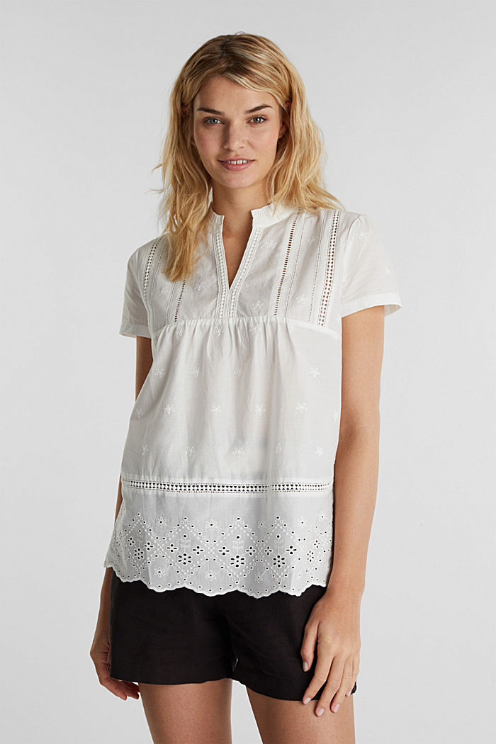 Broderie anglaise blouse, 100% cotton, OFF WHITE, detail image number 0