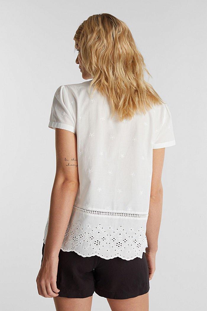 Broderie anglaise blouse, 100% cotton, OFF WHITE, detail image number 2