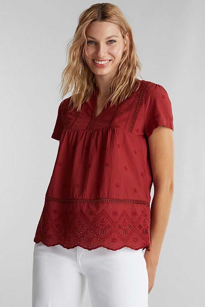 Bluse mit Lochstickerei, 100% Baumwolle, DARK RED, overview