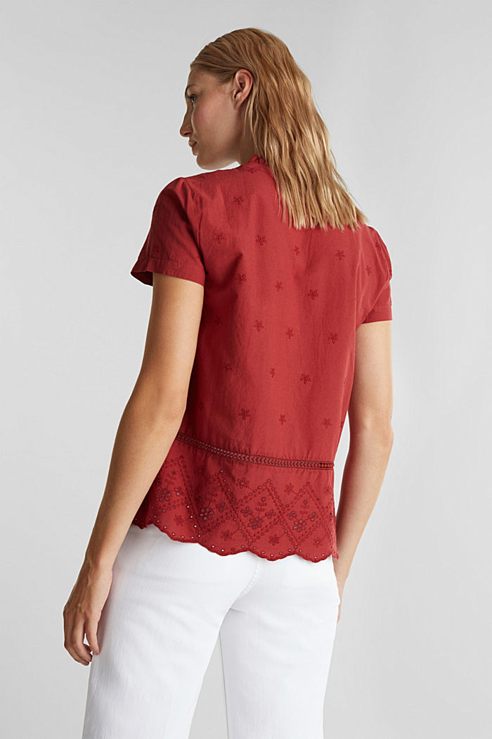 Bluse mit Lochstickerei, 100% Baumwolle, DARK RED, detail image number 2