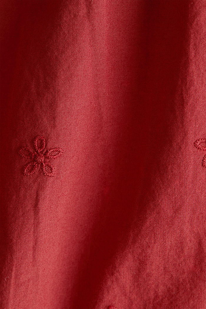 Bluse mit Lochstickerei, 100% Baumwolle, DARK RED, detail image number 3