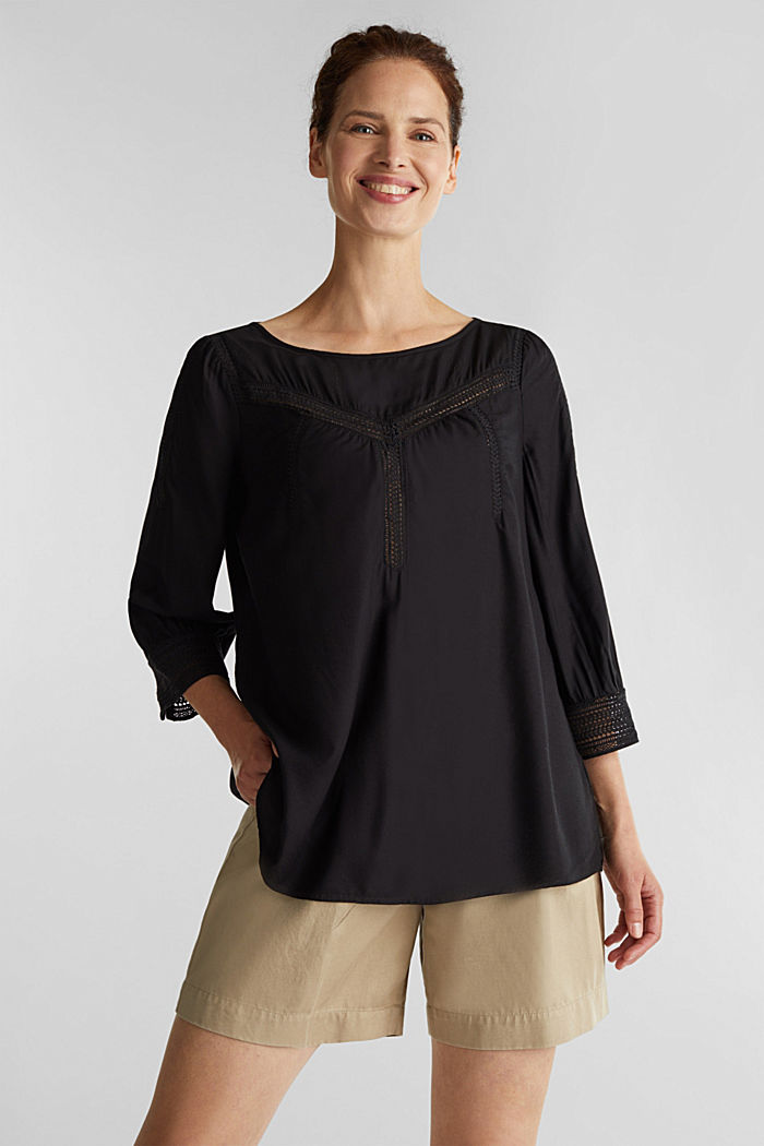 Blouse with broderie anglaise, BLACK, detail image number 0