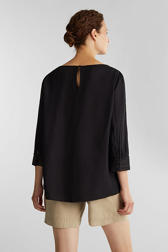 Blouse with broderie anglaise, BLACK, detail image number 3
