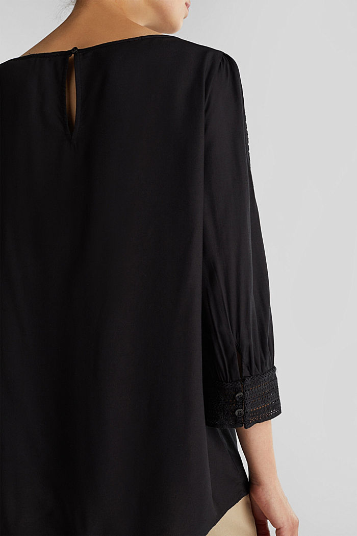 Blouse with broderie anglaise, BLACK, detail image number 2