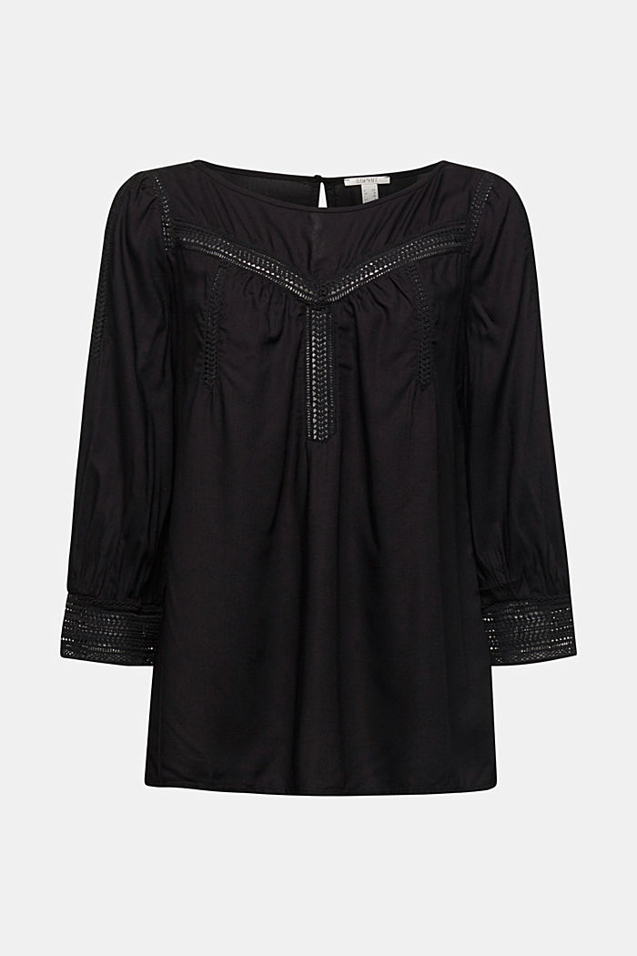 Blouse with broderie anglaise, BLACK, detail image number 5