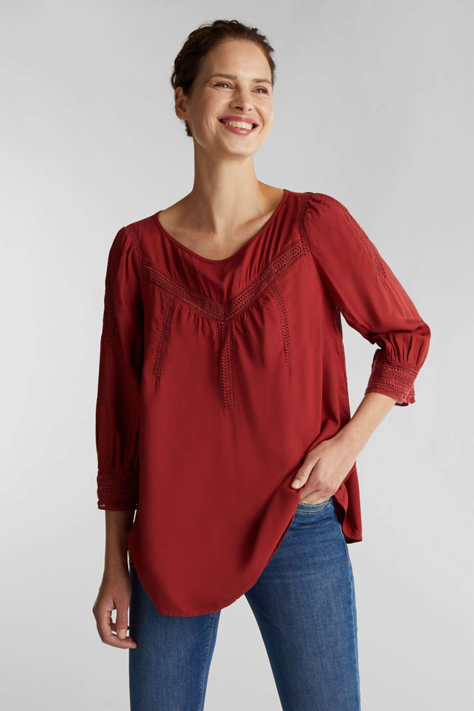 Esprit - Bluse med broderie anglaise